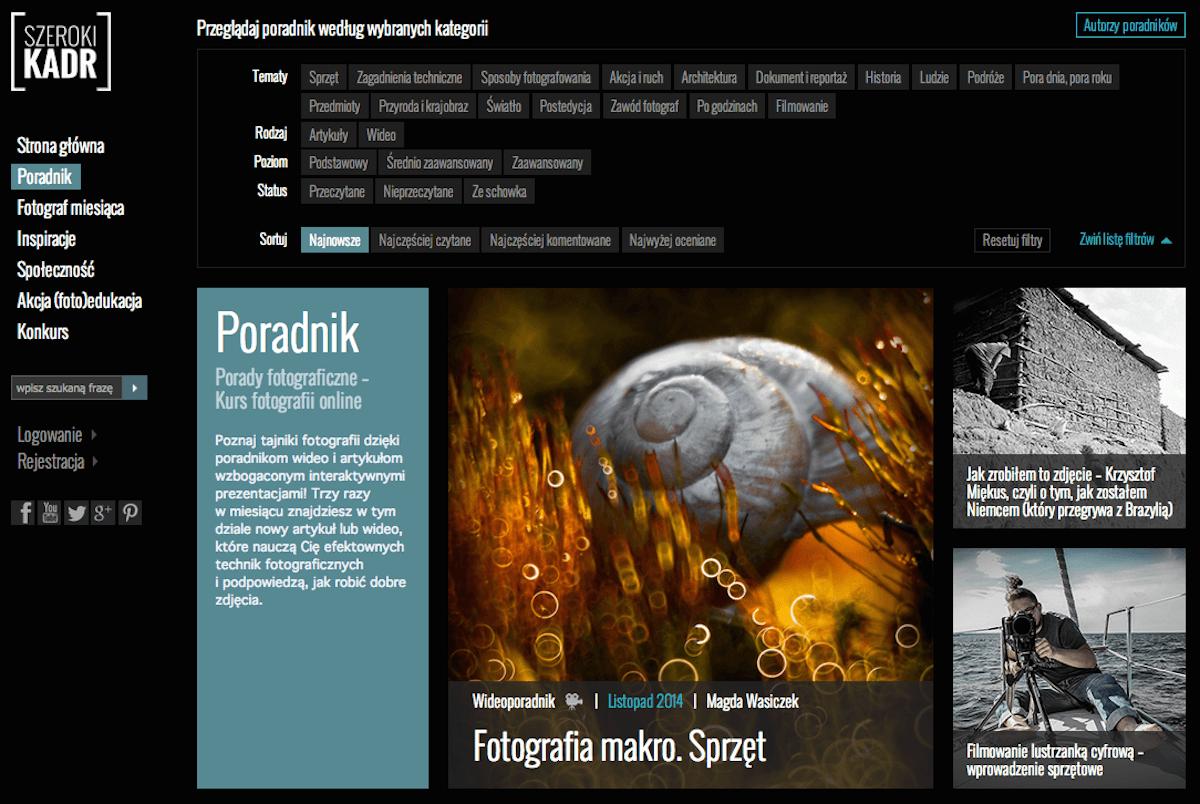 Portal edukacyjny - Szeroki Kadr - polecani dostawcy fotografa