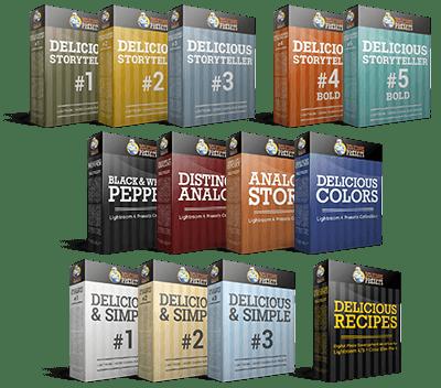 Presety Lightroom i ACR: Delicious Storyteller + Poczwórna Kolekcja + Delicious & Simple + Delicious Recipes - workflow dla Lightroom i Color Efex Pro 4 Recipes